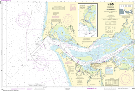 NOAA Chart 18521: Columbia River - Pacific Ocean to Harrington Point, Ilwaco Harbor