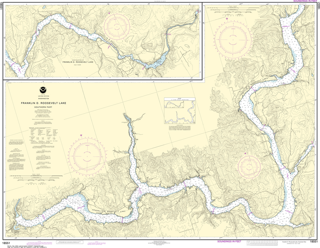 NOAA Chart 18551: Franklin D Roosevelt Lake - Southern Part