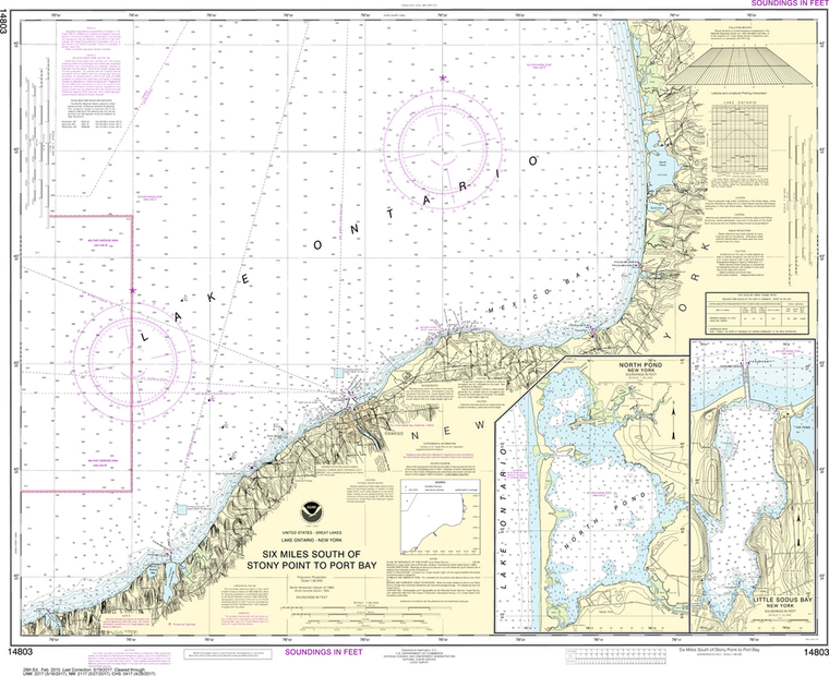 NOAA Chart 14803: Six Miles South of Stony Point to Port Bay, North Pond, Little Sodus Bay