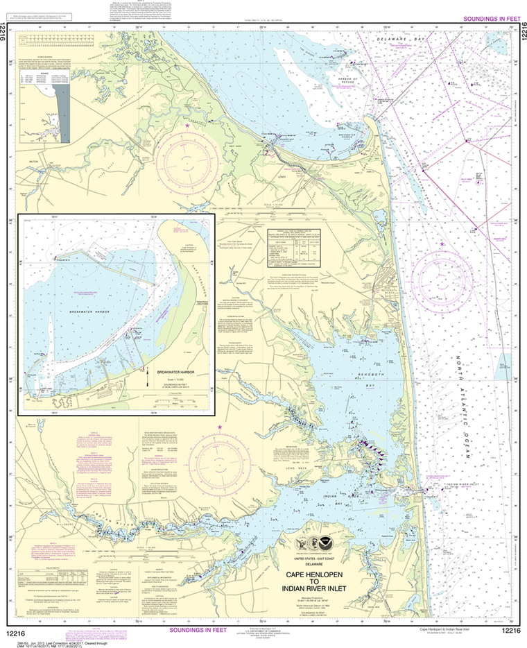 NOAA Chart 12216: Cape Henlopen to Indian River Inlet, Breakwater Harbor
