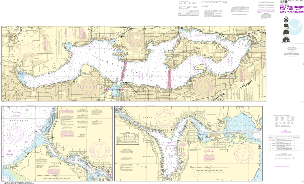 NOAA Chart 18447: Lake Washington Ship Canal, Lake Union, and Lake Washington