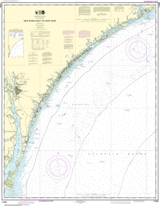 NOAA Chart 11539: New River Inlet to Cape Fear
