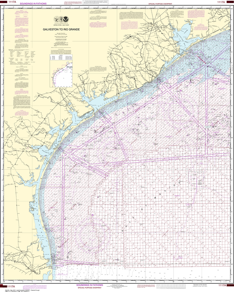 NOAA Chart 1117A: Galveston to Rio Grande (Oil and Gas Leasing Areas)