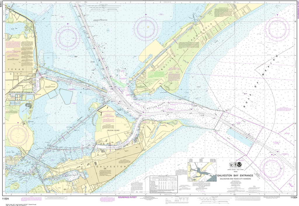 NOAA Chart 11324: Galveston Bay Entrance Galveston and Texas City Harbors
