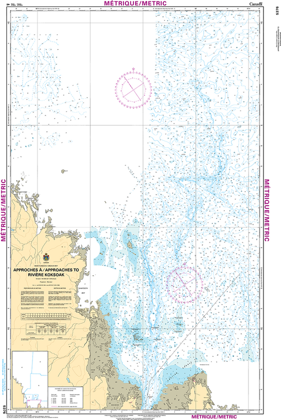 CHS Print-on-Demand Charts Canadian Waters-5376: Approches €/Approaches to RiviЏre Koksoak, CHS POD Chart-CHS5376