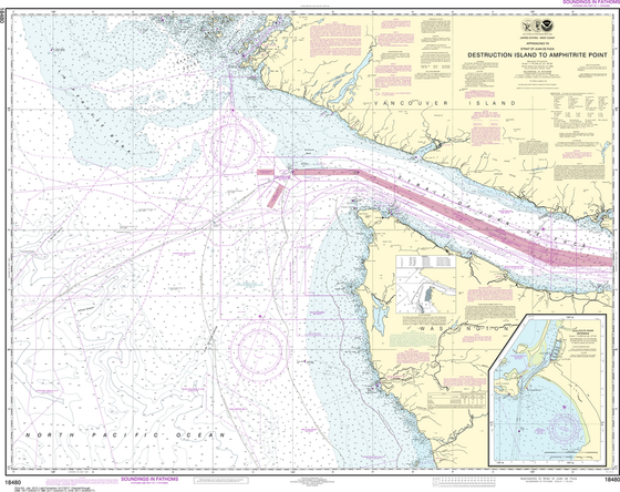 NOAA Chart 18480: Approaches to Strait of Juan de Fuca: Destruction lsland to Amphitrite Point