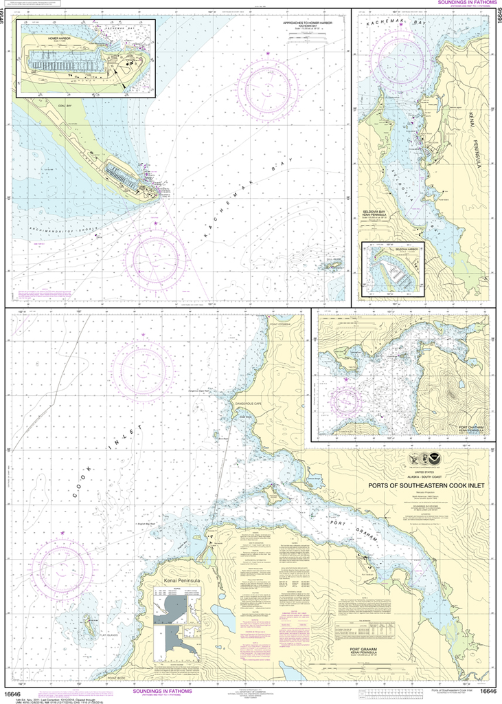 NOAA Chart 16646: Ports of Southeastern Cook Inlet - Port Chatham, Port Graham, Seldovia Bay, Seldovia Harbor, Approaches to Homer Harbor, Homer Harbor