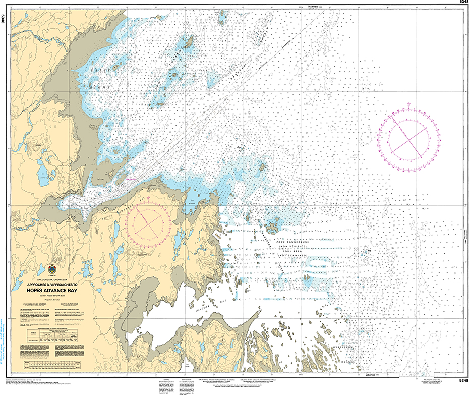 CHS Print-on-Demand Charts Canadian Waters-5348: Approches €/Approaches to Hopes Advance Bay, CHS POD Chart-CHS5348