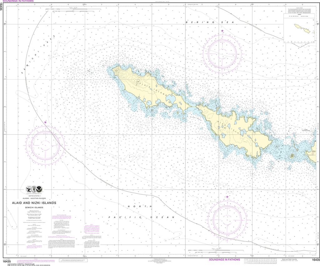 NOAA Chart 16435: Semichi Islands - Alaid and Nizki Islands