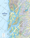 Southern Portion of the Inside Passage Route Planning Map includes the Gulf of Alaska, Dixon Entrance, Admiralty Island, Barannof Island, Chatham Strait, Glacier Bay, Ketchikan, Juneau, Sitka,