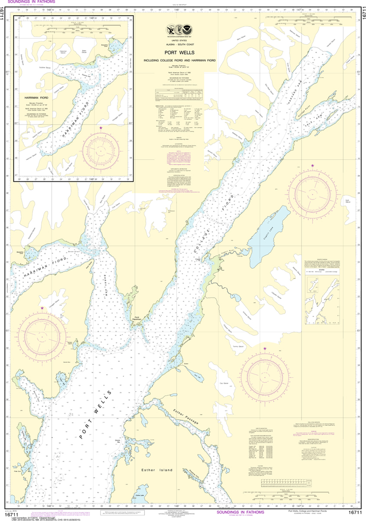 NOAA Chart 16711: Port Wells, including College Fiord and Harriman Fiord