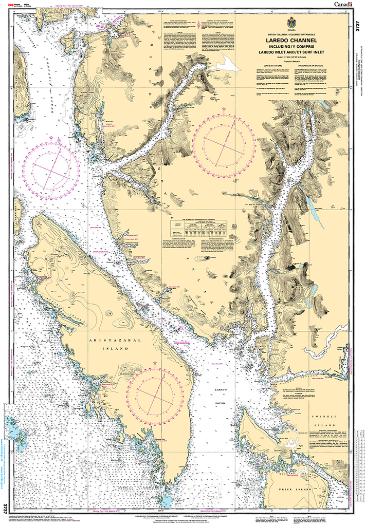 CHS Print-on-Demand Charts Canadian Waters-3737: Laredo Channel including/y compris Laredo Inlet and/et Surf Inlet, CHS POD Chart-CHS3737