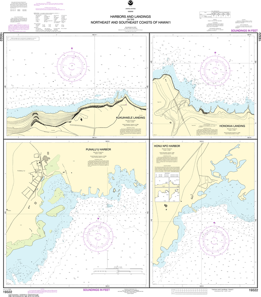 NOAA Chart 19322: Harbors and Landings on the Northeast and Southeast Coasts of Hawai'i - Punalu'u Harbor, Honu'apo Bay, Honokaa Landing, Kukuihaele Landing