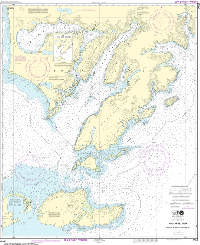 NOAA Chart 16590: Kodiak Island - Sitkinak Strait and Alitak Bay