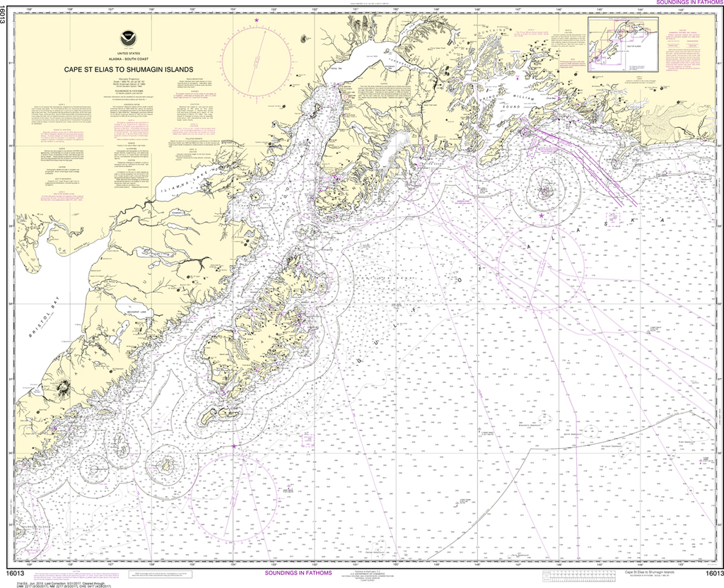 NOAA Chart 16013: Cape St. Elias to Shumagin Islands, Semidi Islands
