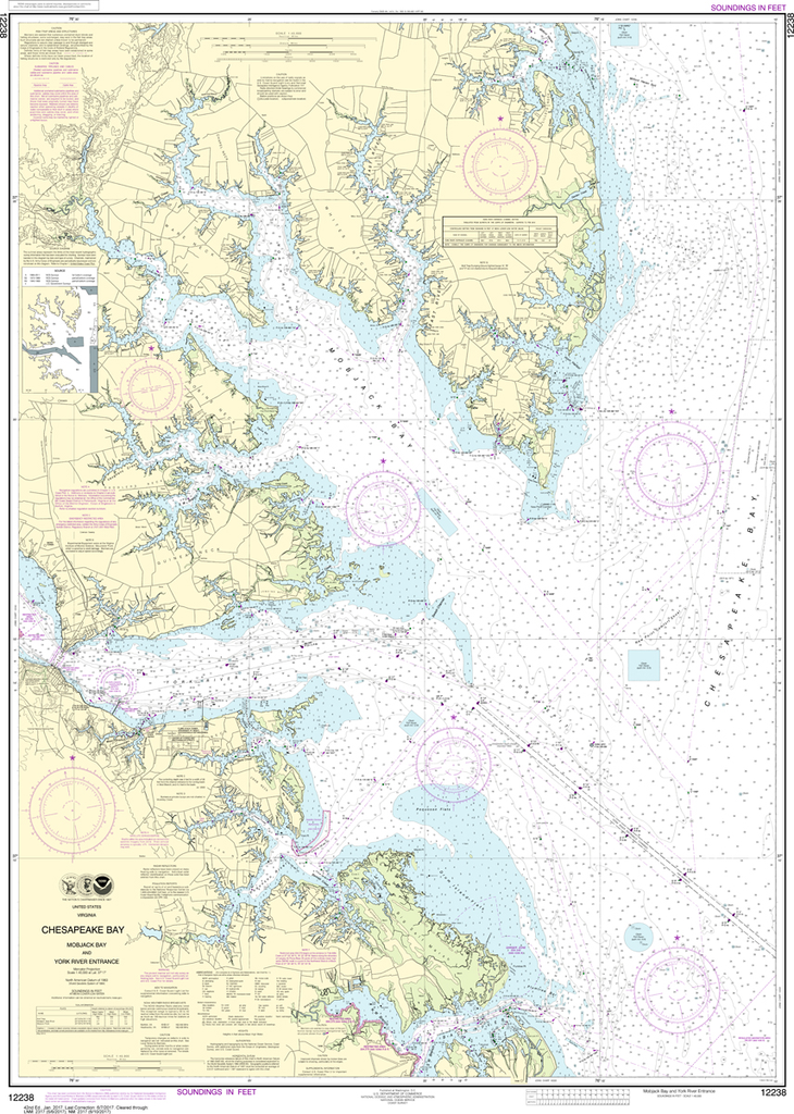 NOAA Chart 12238: Chesapeake Bay - Mobjack Bay and York River Entrance