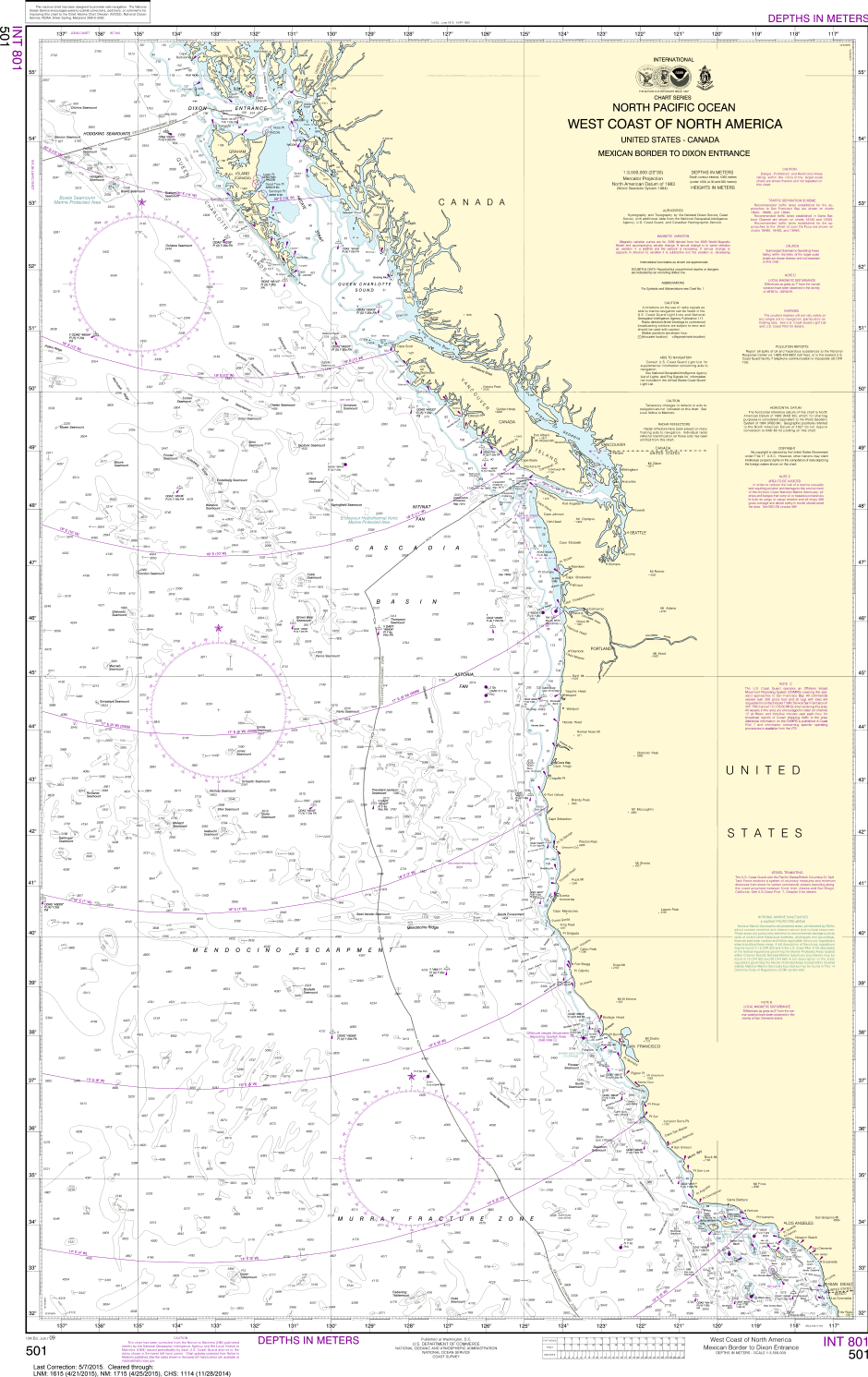 Noaa Chart 501 North Pacific Ocean West Coast Of North America - Pacific-ocean-us-map