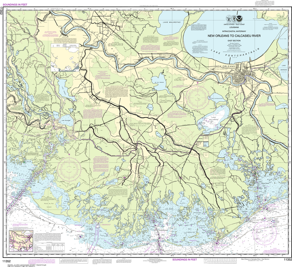 NOAA Chart 11352: Intracoastal Waterway - New Orleans to Calcasieu River East Section