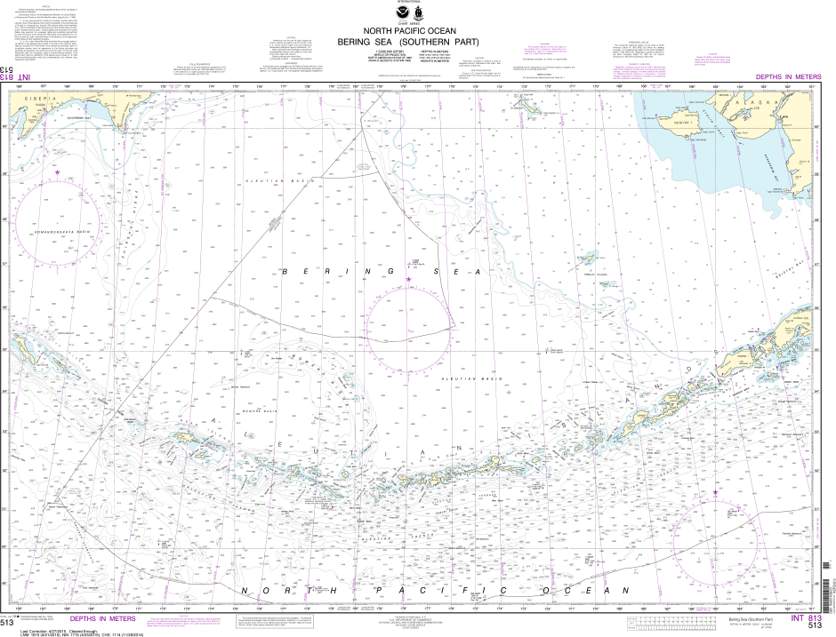 NOAA Print-on-Demand Charts US Waters-Bering Sea   Southern Part-513