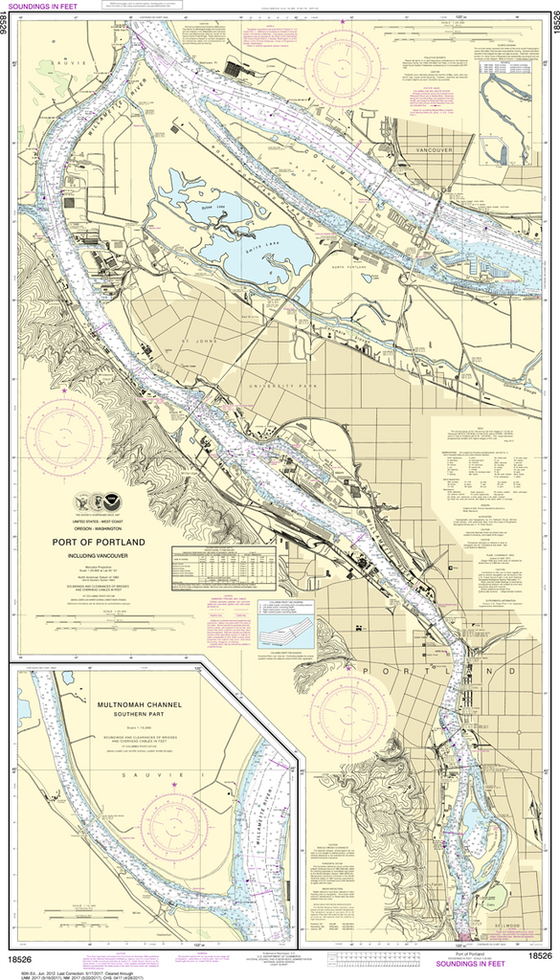 NOAA Chart 18526: Port of Portland, Including Vancouver; Multnomah Channel - Southern Part