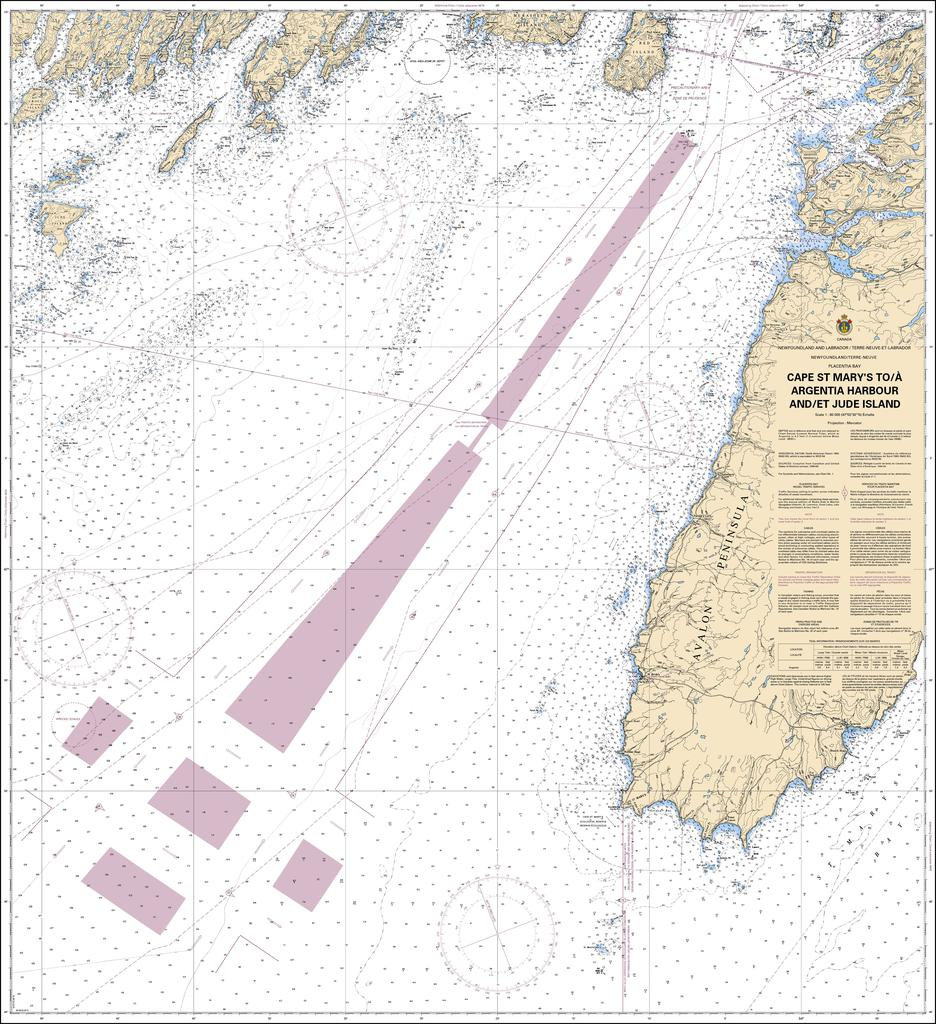 CHS Chart 4622: Cape St Marys to / à Argentia Harbour and / et Jude Island