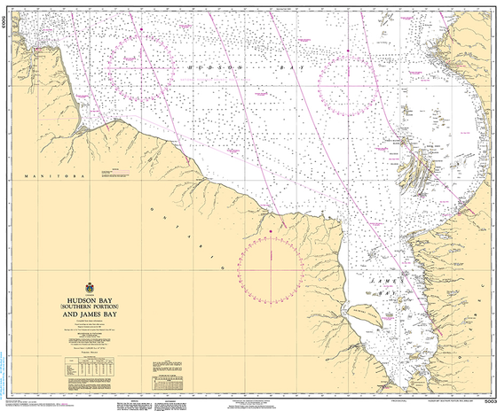 CHS Print-on-Demand Charts Canadian Waters-5003: Hudson Bay (Southern Portion) and James Bay, CHS POD Chart-CHS5003
