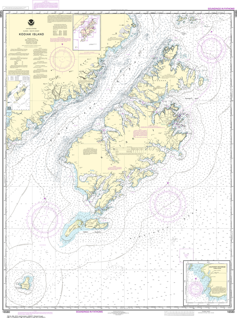 NOAA Chart 16580: Kodiak Island - Southwest Anchorage, Chirikof Island