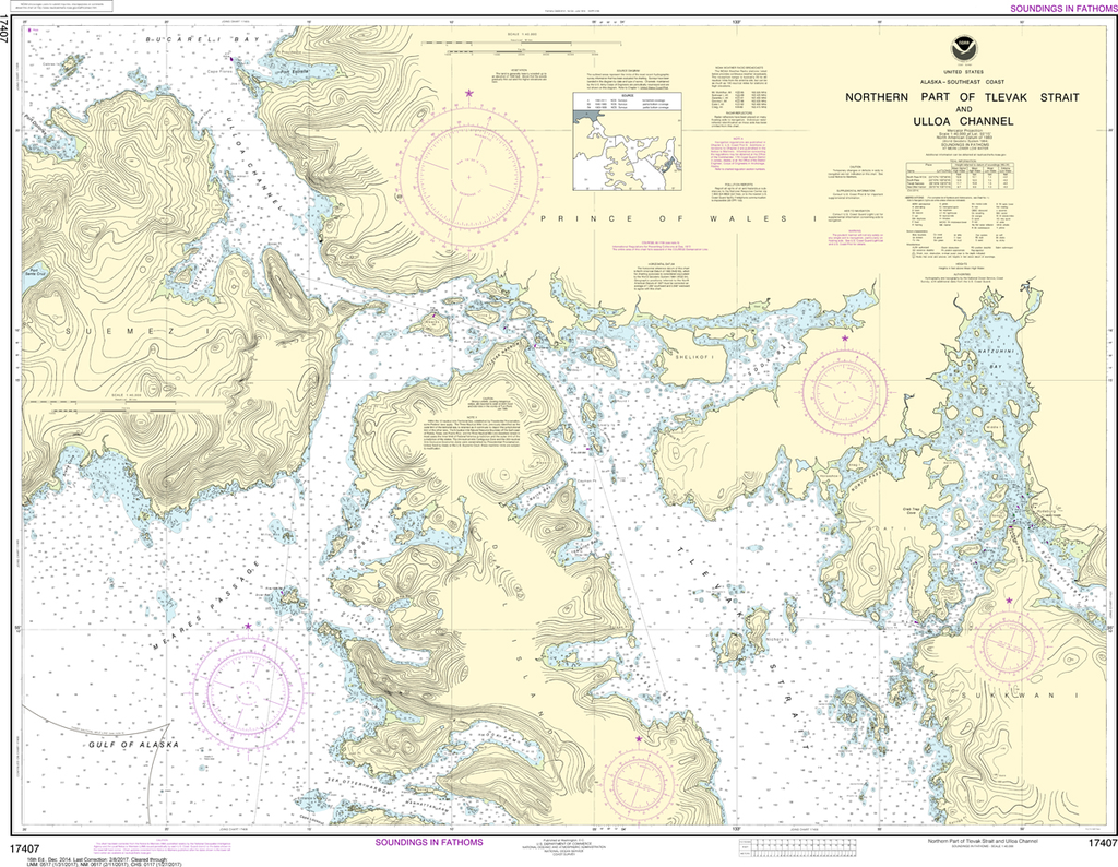 NOAA Chart 17407: Northern Part of Tlevak Strait and Uloa Channel