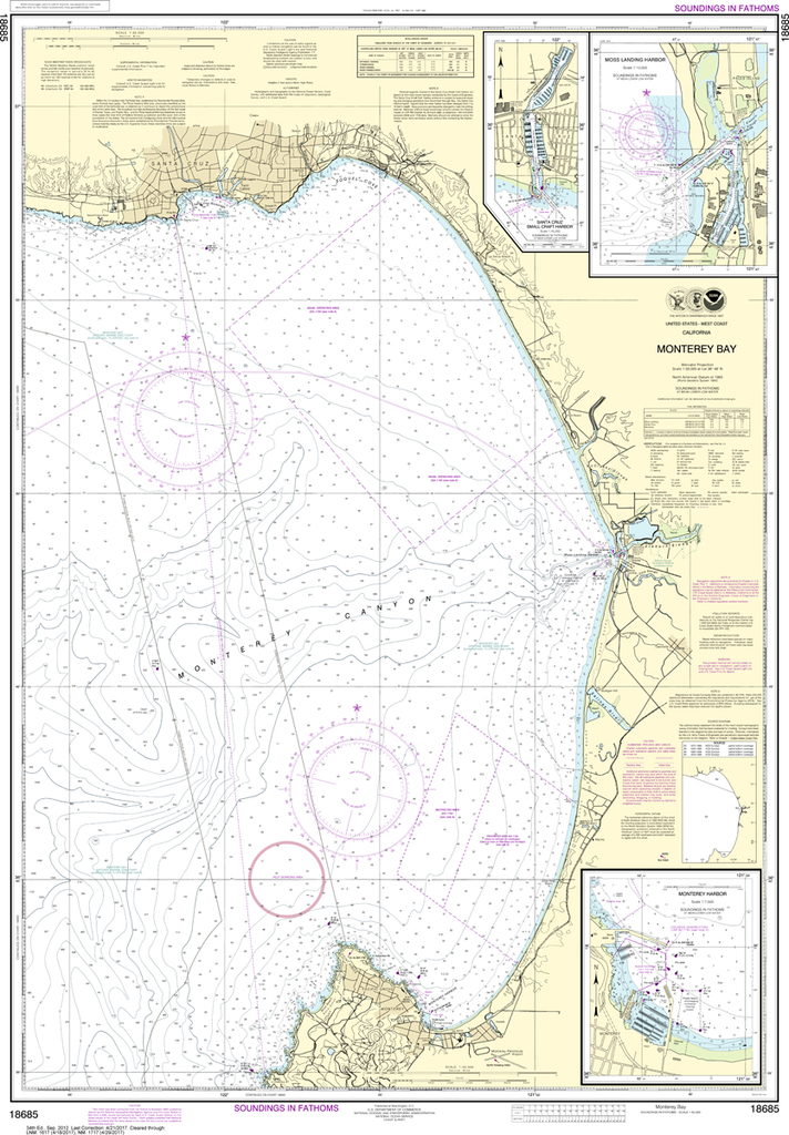 NOAA Chart 18685: Monterey Bay, Monterey Harbor, Moss Landing Harbor, Santa Cruz Small Craft Harbor