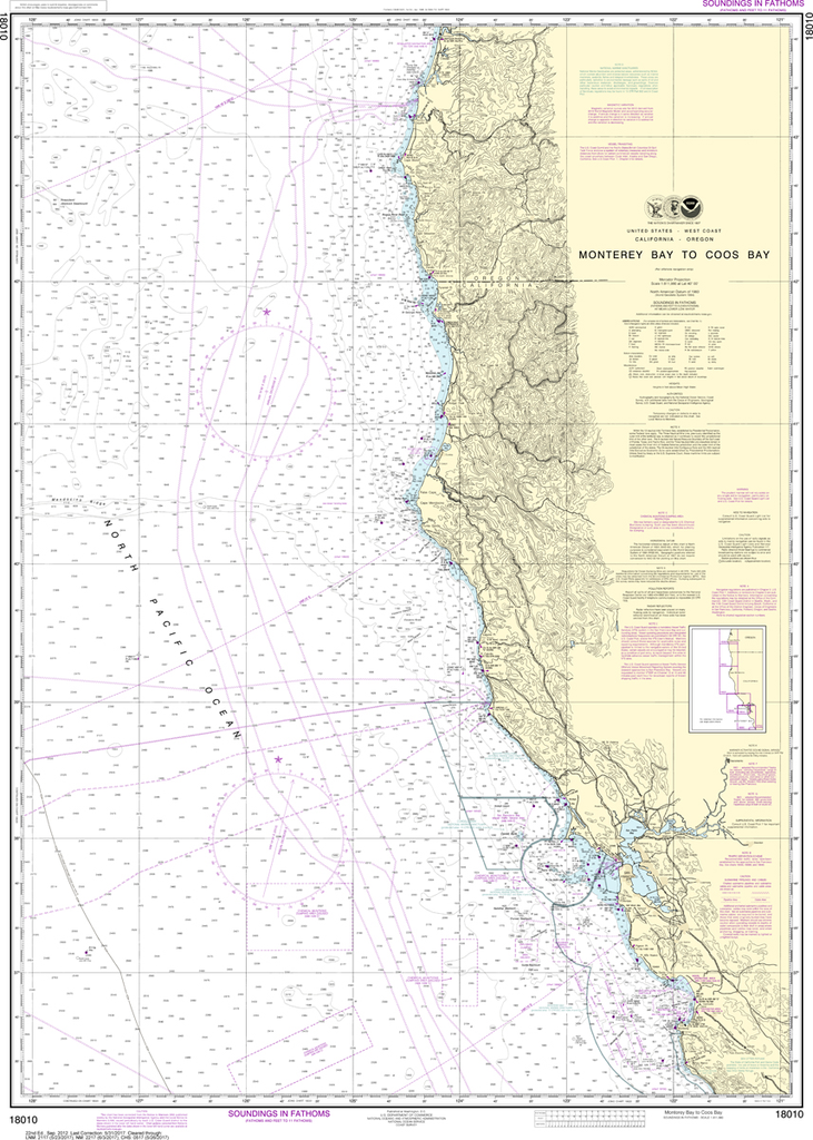 NOAA Chart 18010: Monterey Bay to Coos Bay