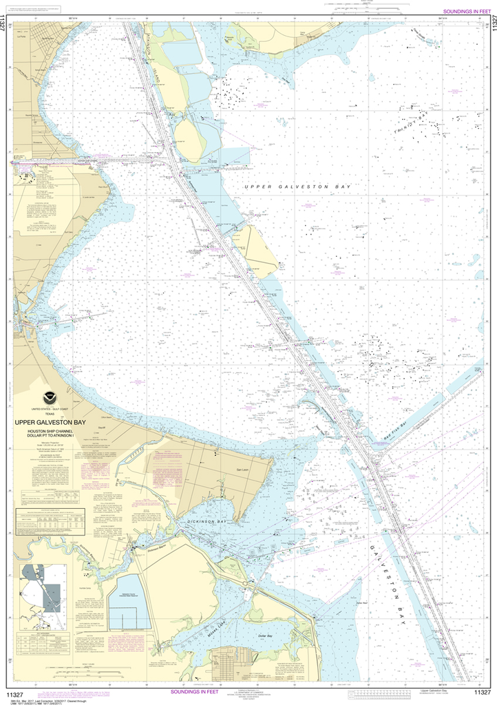 NOAA Chart 11327: Upper Galveston Bay, Houston Ship Channel, Dollar Point to Atkinson