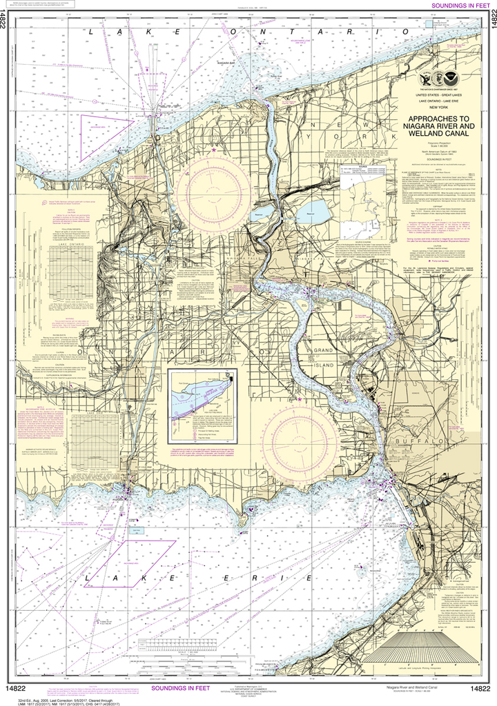 NOAA Chart 14822: Approaches to Niagara River and Welland Canal