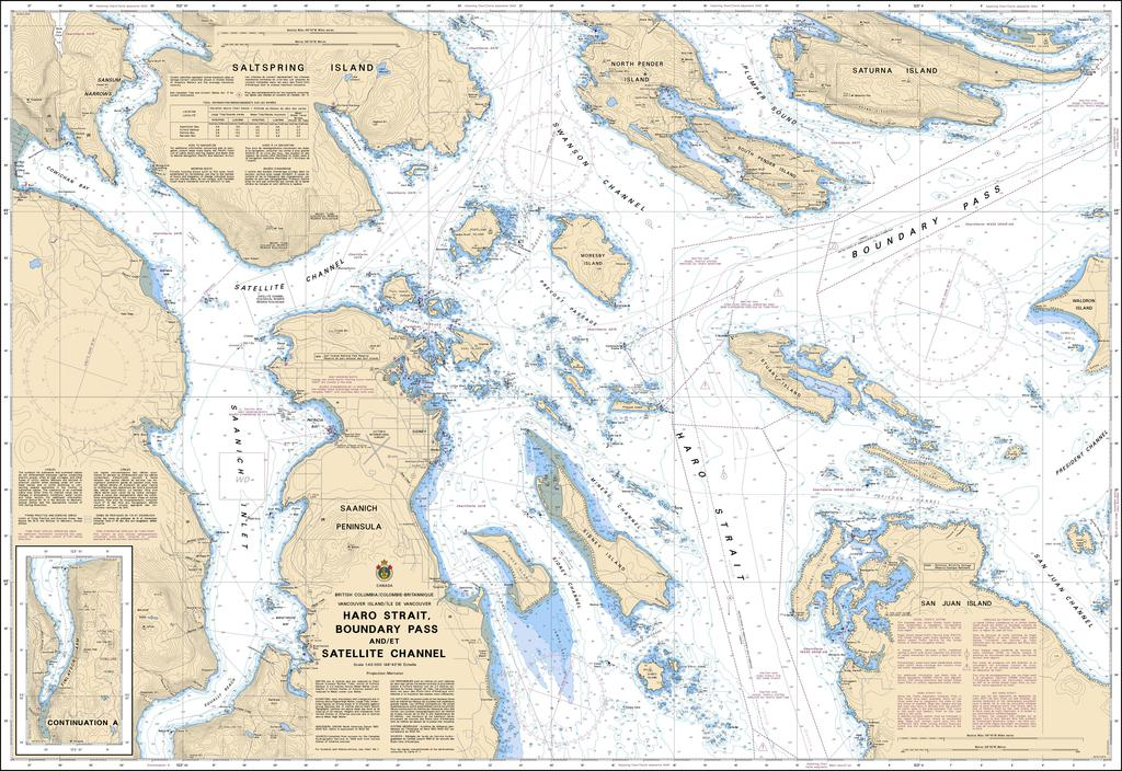 CHS Chart 3441: Haro Strait, Boundary Pass and/et Satellite Channel