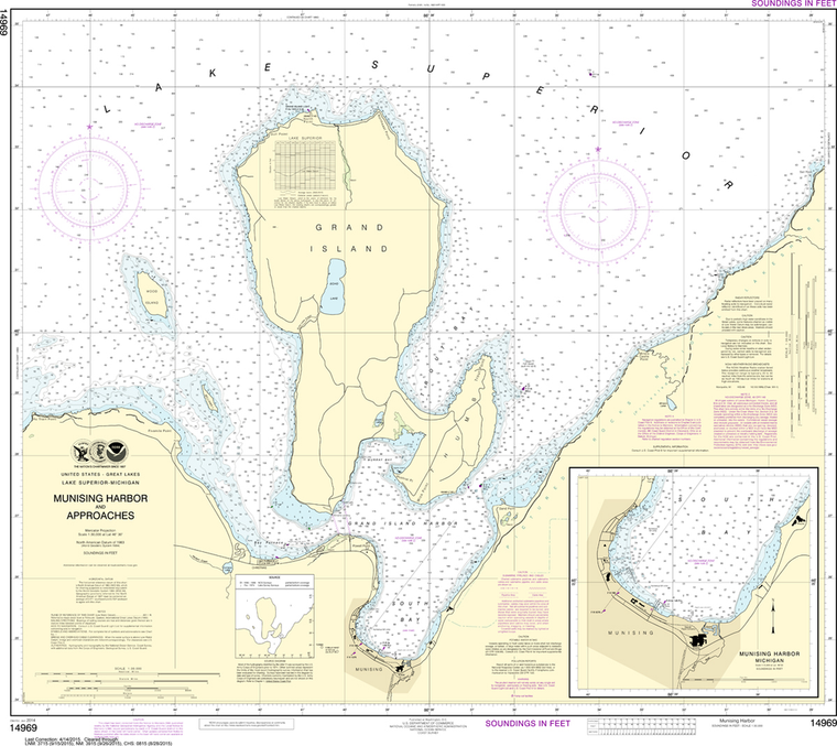 NOAA Chart 14969: Munising Harbor and Approaches, Munising Harbor
