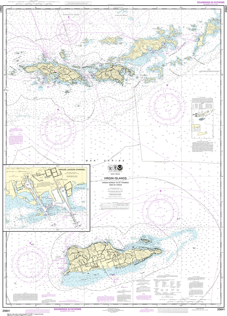 NOAA Chart 25641: Virgin Islands - Virgin Gorda to St. Thomas and St. Croix, Krause Lagoon Channel