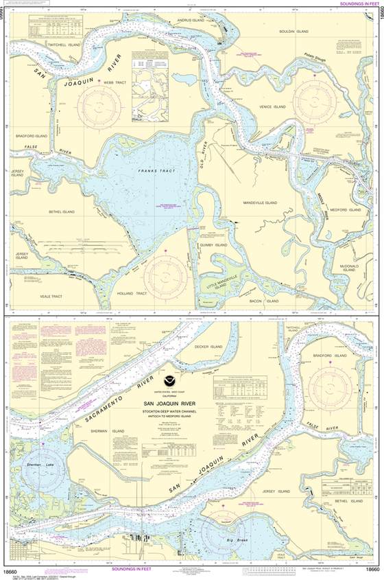NOAA Chart 18660: San Joaquin River - Stockton Deep Water Channel, Antioch to Medford Island