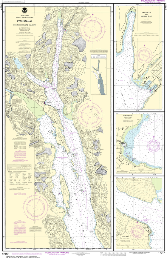 NOAA Chart 17317: Lynn Canal - Point Sherman to Skagway, Lutak Inlet, Skagway and Nahku Bay, Portage Cove, Chilkoot Inlet