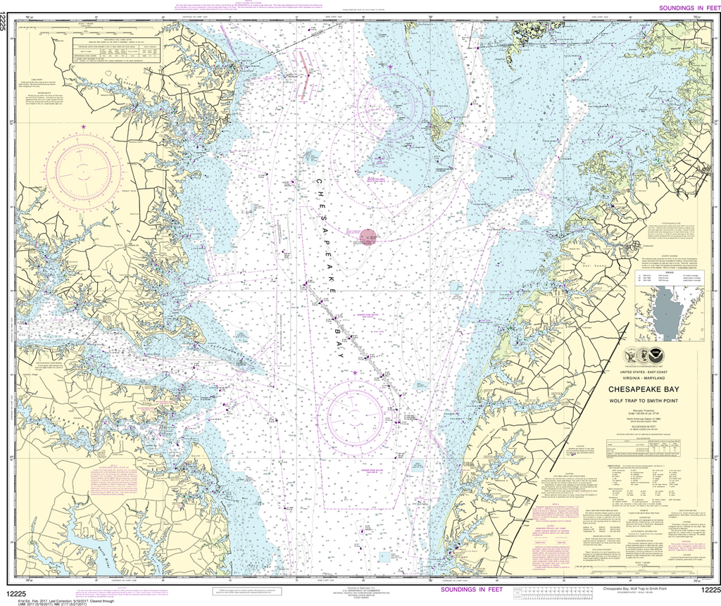 NOAA Chart 12225: Chesapeake Bay - Wolf Trap to Smith Point