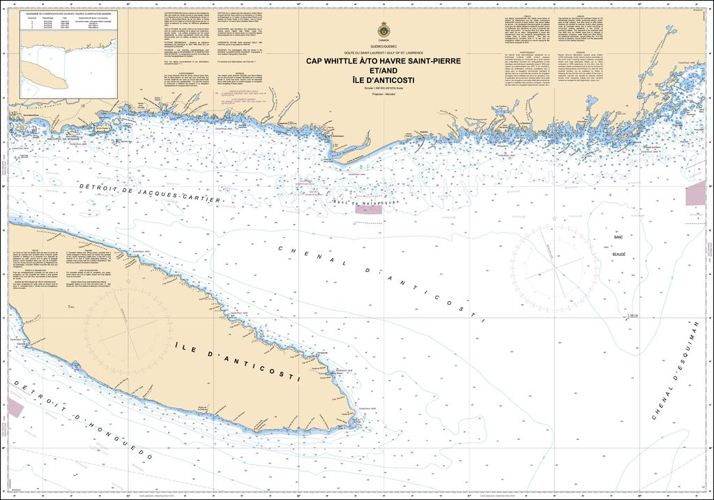 CHS Chart 4025: Cap Whittle à/to Havre Saint-Pierre et/and Île dAnticosti
