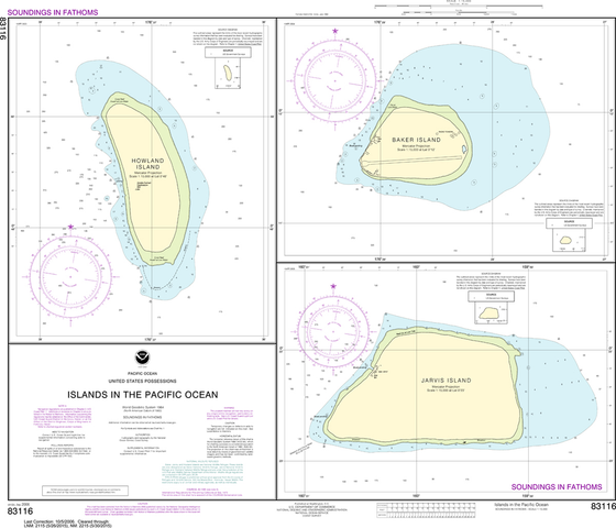 NOAA Chart 83116: Islands in the Pacific Ocean - Jarvis, Bake and Howland Islands