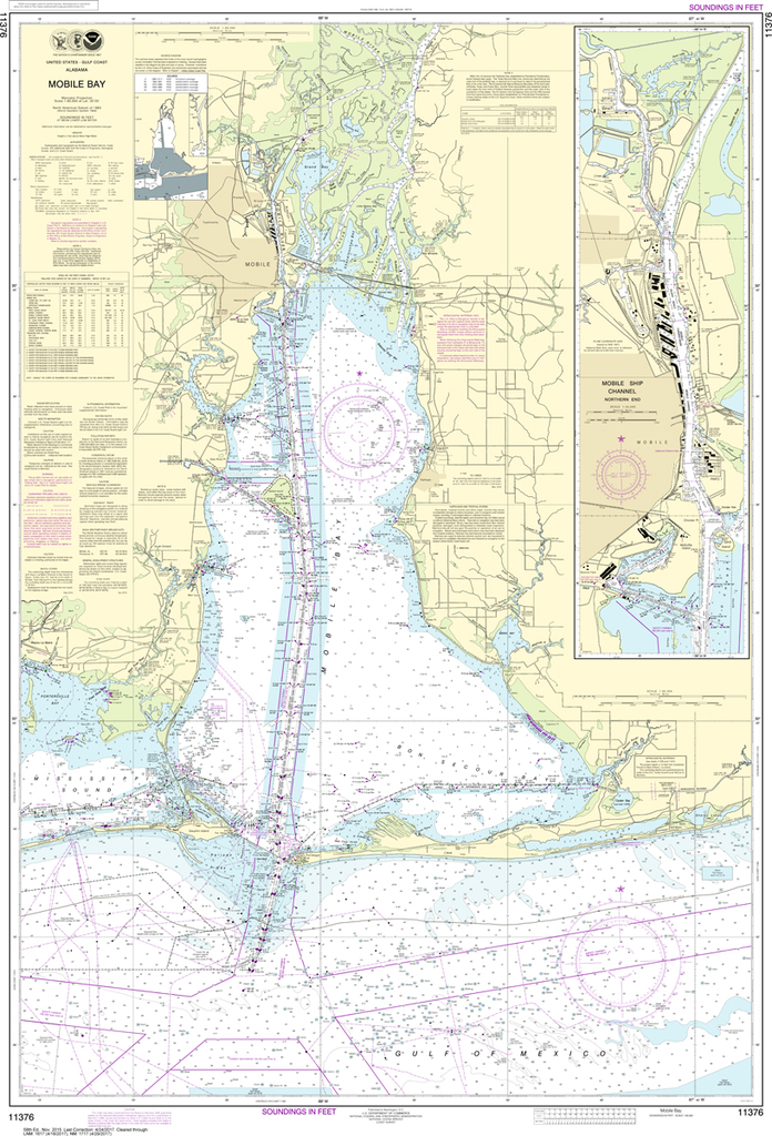 NOAA Chart 11376: Mobile Bay - Mobile Ship Channel, Northern End