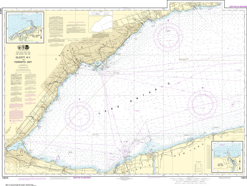 NOAA Chart 14810: Olcott Harbor to Toronto, Olcott and Wilson Harbors