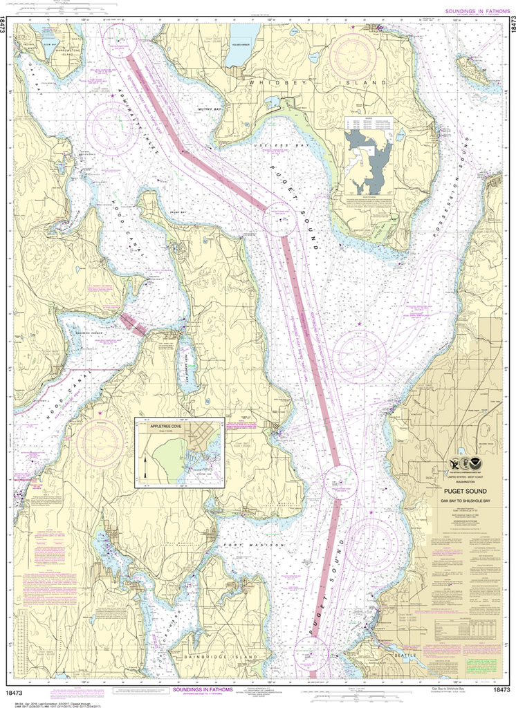 NOAA Chart 18473: Puget Sound - Oak Bay to Shilshole Bay