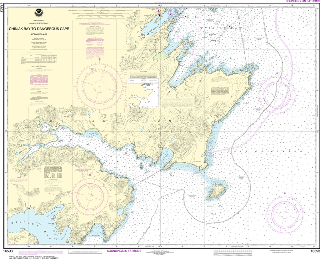 NOAA Chart 16593: Kodiak Island - Chiniak Bay to Dangerous Cape