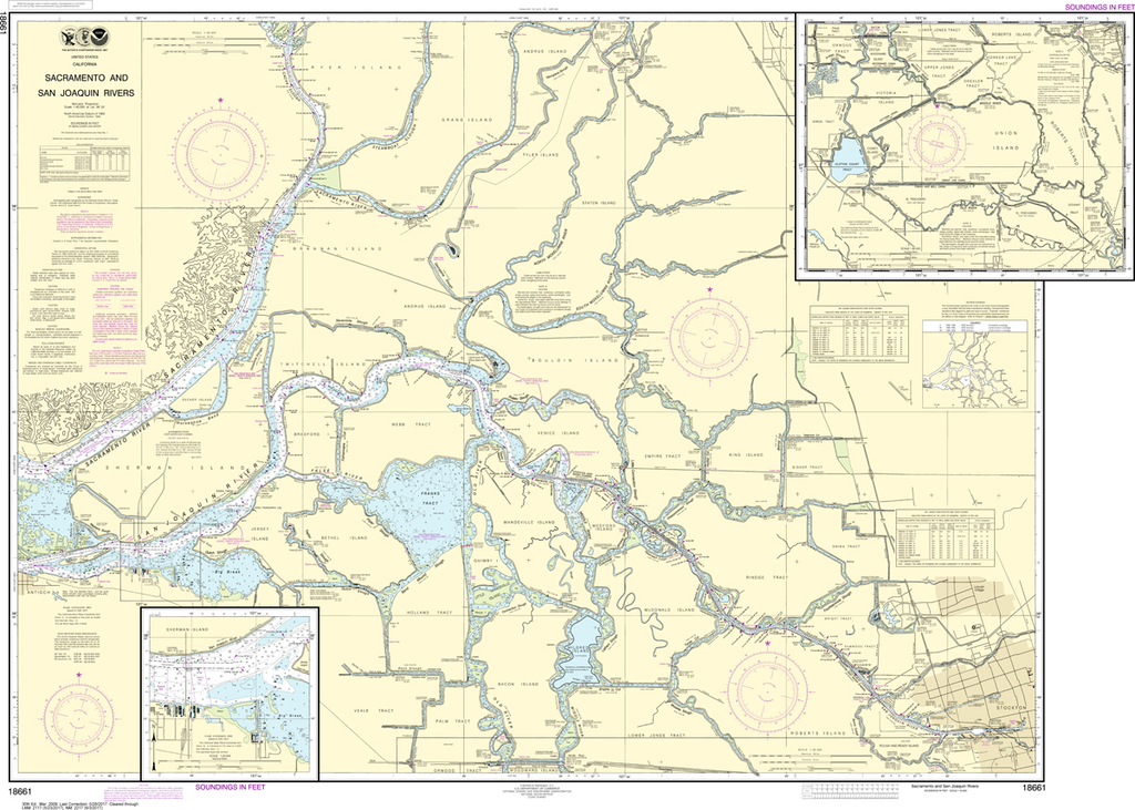 NOAA Chart 18661: Sacramento and San Joaquin Rivers - Old River, Middle River and San Joaquin River extension, Sherman Island