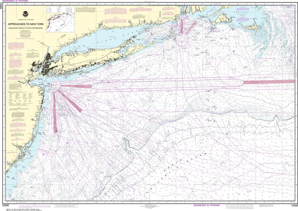 NOAA Chart 12300: Approaches to New York, Nantucket Shoals to Five Fathom Bank