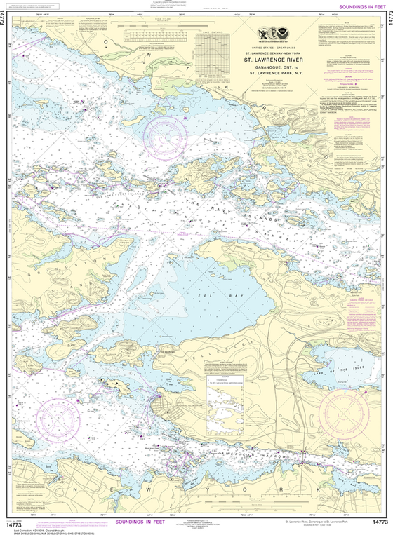 NOAA Chart 14773: Gananoque, Ont to St. Lawrence Park NY