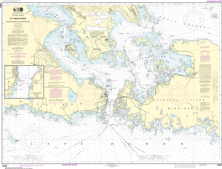 NOAA Chart 14882: St. Marys River - Detour Passage to Munuscong Lake, Detour Passage