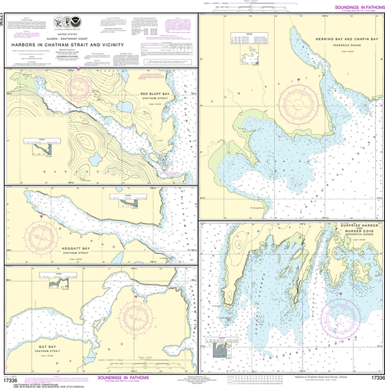 NOAA Chart 17336: Harbors in Chatham Strait and Vicinity - Gut Bay, Hoggatt Bay, Red Bluff Bay, Herring Bay and Chapin Bay; Frederick Sound - Surprise Harbor and Murder Cove
