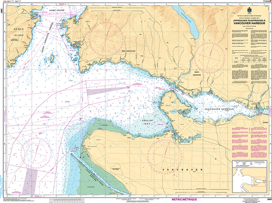 CHS Print-on-Demand Charts Canadian Waters-3481: Approaches to/Approches € Vancouver Harbour, CHS POD Chart-CHS3481